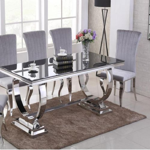 JP DT840 Dining table180cm (Black Glass) & JP CH250 Plush Velvet pewter Chairs From Jesse plana